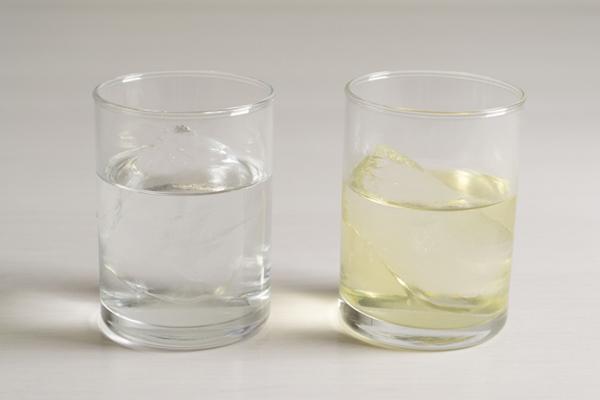 左が市販のゆず酒、右は「カサデビーノ」でつくったゆず酒です。