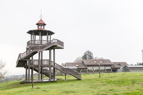 牧場風の敷地内はゆったりと散歩をするのに最適!中には立派な物見櫓も。