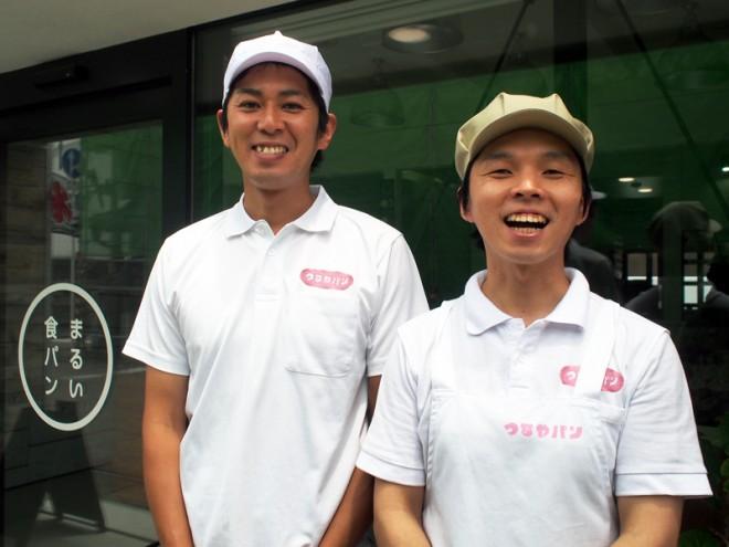 専務の西村豊弘さん(左)とまるい食パン専門店の店長・西村洋平さん(右)。