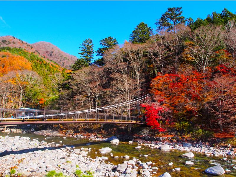 箒川に架かる紅葉の名所「紅の吊橋」。温泉街の中心部にある人気スポットです。