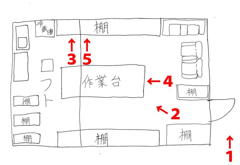 高野さんに描いてもらった間取り図(ロフトと被る部分の設備はすべて下にある)。数字は撮影場所を示しています。