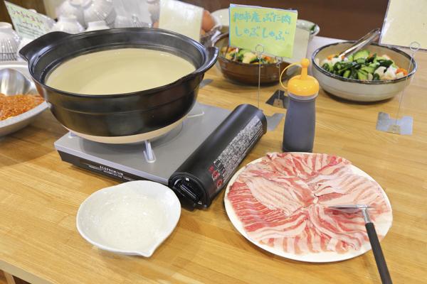 県内産の豚肉を使用したしゃぶしゃぶは人気メニューの一つ。