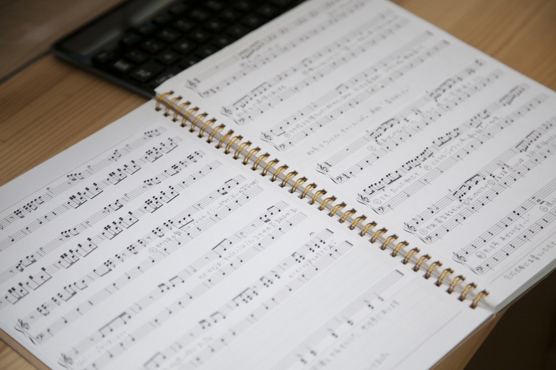 楽譜と台詞が一体になったバニラさんオリジナルの台本。