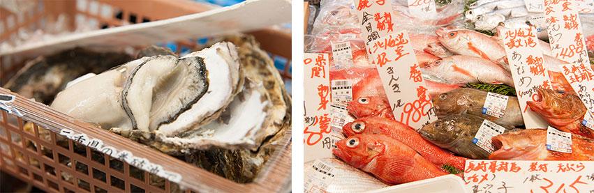 プリップリの岩牡蠣がなんと180円(取材時)!